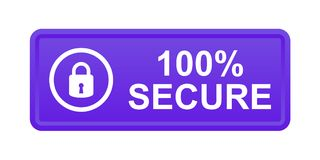 100% secure button. Simple vector illustration of Safe secure padlock violet web button on white background stock illustration