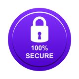 100% secure button. Simple vector illustration of Safe secure padlock violet web round button on white background royalty free illustration