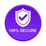 100% secure button. Simple vector illustration of Safe secure padlock violet web round button on white background vector illustration