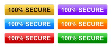 100% secure buttons. Simple vector illustration of Safe secure padlock web buttons on white background royalty free illustration