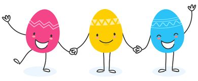 Simple vector illustration of three colorful flat design easter eggs, cartoon characters holding hands vector illustration