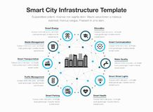 Simple vector infographic for smart city infrastructure with icons and place for your content. Isolated on light background stock illustration
