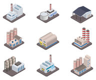 Simple vector isometric factory plants and factories icon set Stock Photography