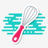 Simple vector kitchen whisk icon label Stock Photos
