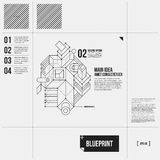 Simple vector layout with abstract outline object in draft style Royalty Free Stock Photo
