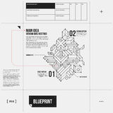 Simple vector layout with abstract outline object in draft style Royalty Free Stock Photos