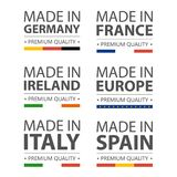 Simple vector logos Made in Italy, Germany, France, Ireland, Spain and Made in European Union. Premium quality. Label. With flag. Vector illustration Royalty Free Stock Images