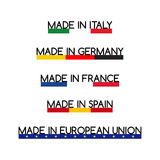 Simple vector logos Made in Italy, Made in Germany, Made in France, Made in Spain and Made in European Union Royalty Free Stock Images