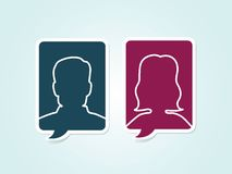 Simple vector male female avatar icons vector illustration