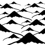 Simple vector mountains black and white background Stock Photography