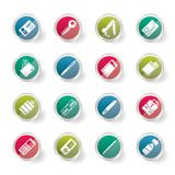Simple Vector Object Icons over colored background stock illustration