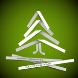 Simple vector paper christmas tree. Simple vector christmas tree made from white paper stripes - original new year card vector illustration