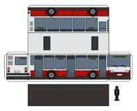 The paper model of a city bus. The simple vector paper model of a red and white city bus royalty free illustration