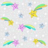 Simple vector pattern with stars illustration. Cartoon print. Vector textile fabric print. Kids art stock illustration