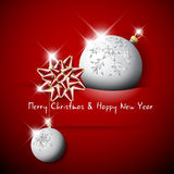 Simple vector red christmas card. With silver baubles and red bow Royalty Free Stock Images
