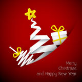 Simple vector red  christmas card illustration Stock Photo