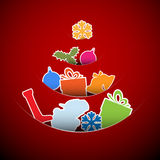 Simple vector red christmas card illustration Stock Image