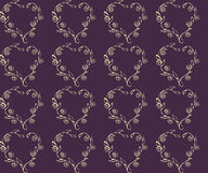 Simple vector seamless repeating pattern for vintage design. Pale yellow floral heart on a dark purple background. Stock Images