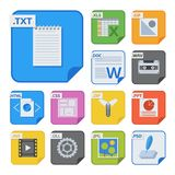 File types and formats labels icon presentation document symbol application software folder vector illustration. Simple vector square file types and formats Stock Photography