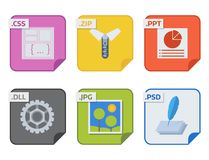 File types and formats labels icon presentation document symbol application software folder vector illustration. Simple vector square file types and formats Royalty Free Stock Images