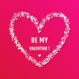 Simple vector valentine day card with mosaic heart shape on pink Stock Image