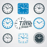 Simple vector wall clocks with stylized clockwise. Business time Royalty Free Stock Photo