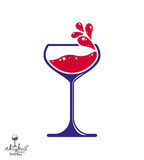 Simple vector wine goblet with splash, alcohol idea illustration Stock Images