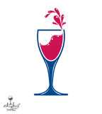 Simple vector wine goblet with splash, alcohol idea illustration Royalty Free Stock Photos