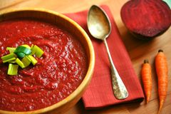 Simple , vegan meal with organic beet and carrot soup Stock Images