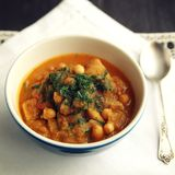 Vegetable soup. Chickpeas, potato and carrot. Diet Royalty Free Stock Image