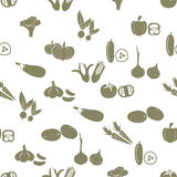 Simple vegetables icons seamless white pattern. Eps10 Vector Illustration