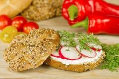Simple vegetarian wholegrain sandvich Stock Photos