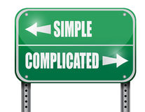 Simple Versus Complicated Road Sign Illustration Stock Image