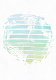 Simple vertical template with handdrawn ink circle, hand made in freehand style, with stripe gradient texture, imperfect, grainy, Royalty Free Stock Photography
