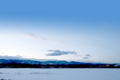 Simple View of Distant Snowy Mountains Stock Photo