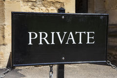 A simple view of a Private Sign.  Royalty Free Stock Photo
