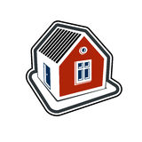 Simple village mansion icon, abstract house depiction. Country h. Ouse, conceptual sign best for use in graphic and web design vector illustration