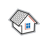 Simple village mansion icon, vector abstract house. Royalty Free Stock Photo