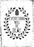 Simple vintage motivational poster with floral ornaments, doodle Royalty Free Stock Photo
