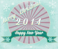 Simple vintage retro Christmas card 2014 Royalty Free Stock Image