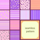 10 simple vintage seamless patterns of dots and stripes. 12 simple pink vintage seamless patterns of dots and stripes Stock Photography