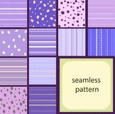10 simple vintage seamless patterns of dots and stripes. 12 simple purple vintage seamless patterns of dots and stripes Stock Photography