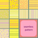 10 simple vintage seamless patterns of dots and stripes. 12 simple yellow vintage seamless patterns of dots and stripes Stock Image