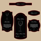 Simple vintage wine label black red Royalty Free Stock Image