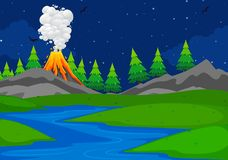 A simple volcano scene. Illustration royalty free illustration