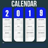 Simple Wall Calendar Template for 2019 Year royalty free stock images