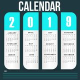 Simple Wall Calendar Template for 2019 Year stock images