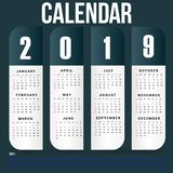 Simple Wall Calendar Template for 2019 Year royalty free stock photo