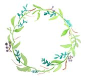 Water colour floral wreath 4 Royalty Free Stock Photos