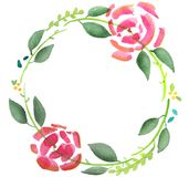 Water colour floral wreath 3 Royalty Free Stock Image
